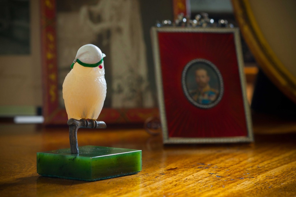 Faberge owl on jade base at Harewood