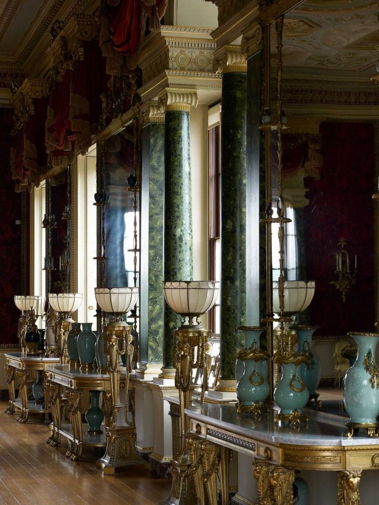 Harewood House has Chippendale lamps in the gallery