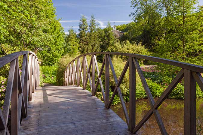 Harewood House has gardens with bridges in Harrogate