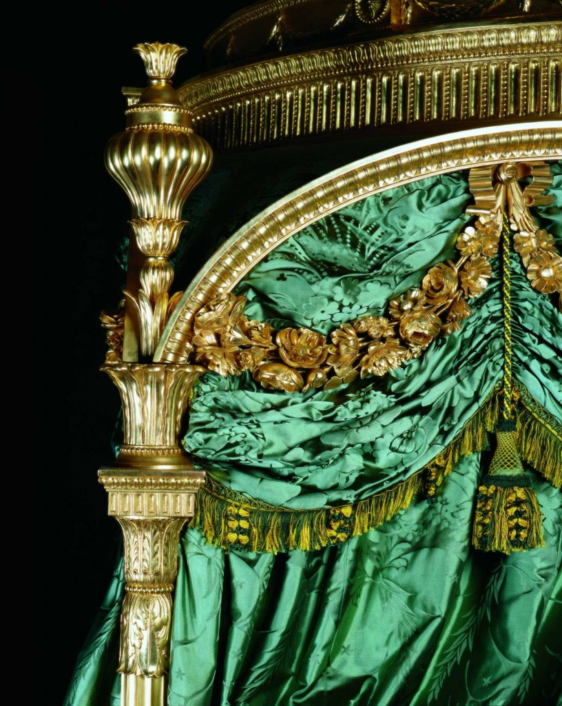 Ornate gold and green silk decorate Harewood's State Bed