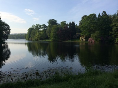 Views across the lake at Harewood House in Yorkshire