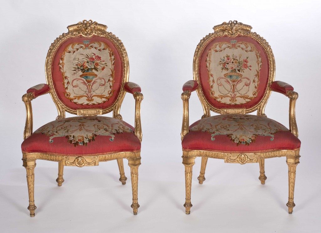 Chippendale open arm chairs at Harewood House near York