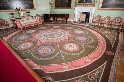 Robert Adam carpet on display at Harewood House in Yorkshire