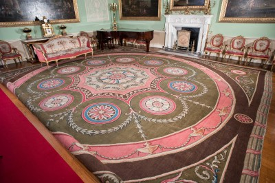 Robert Adam carpet on display at Harewood House in Yorkshire