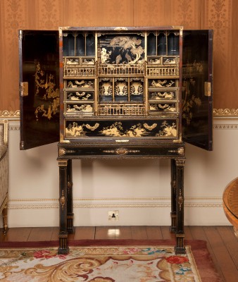Inside view of the Chippendale Japanned Cabinet at Harewood in Yorkshire