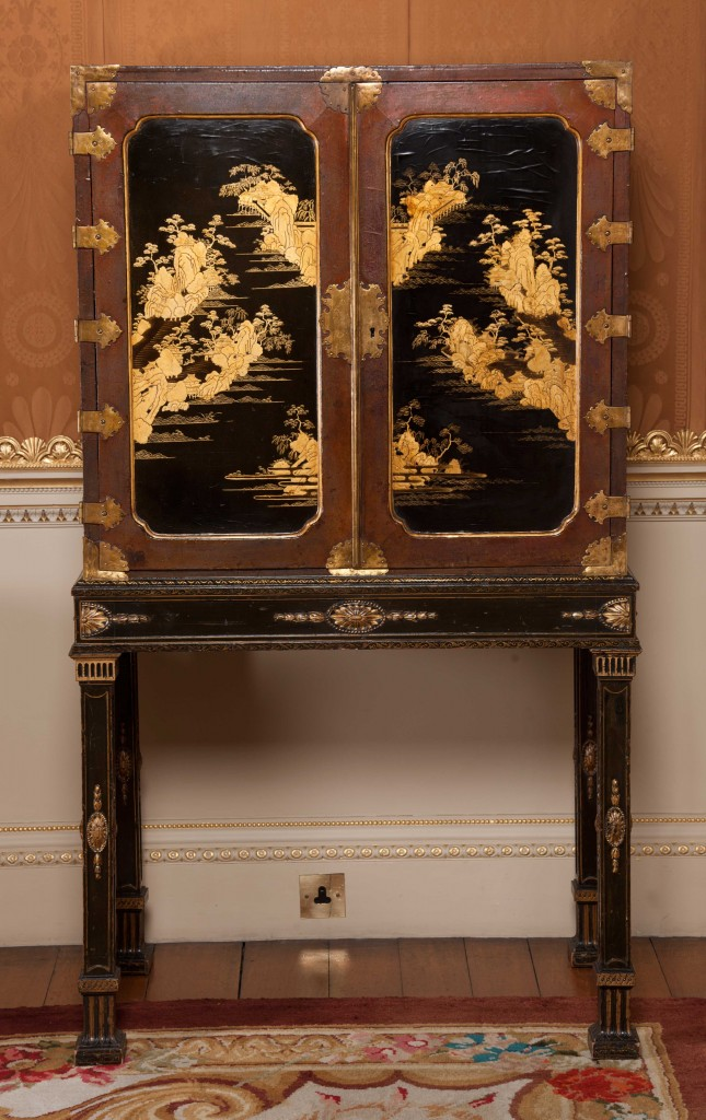 Chippendale Japanned Cabinet in gold and black at Harewood House near Leeds