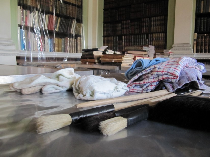Cleaning the Libraries at Harewood House, Yorkshire
