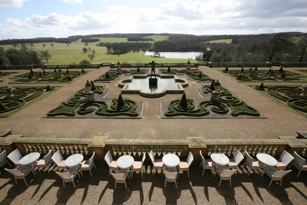 View from the Terrace Cafe at Harewood House across Capability Brown landscape