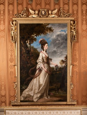 Lady Harrington is a Joshua Reynolds painting hung at Harewood House in Yorkshire