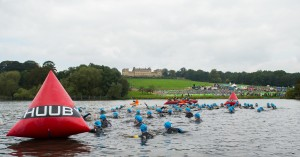 Swimmers in the lake at Harewood House near Leeds