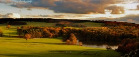 Autumn landscape at Harewood created by Capability Brown