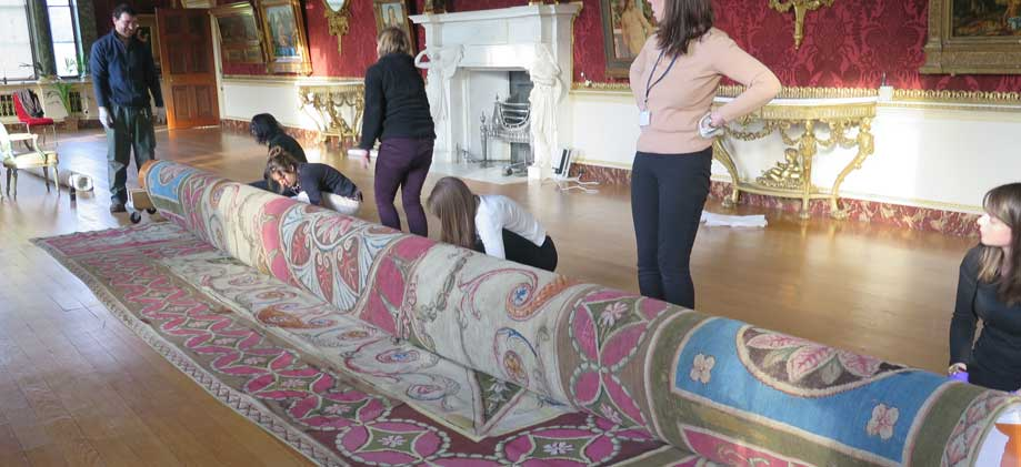 Conservation at Harewood on Axminster carpets