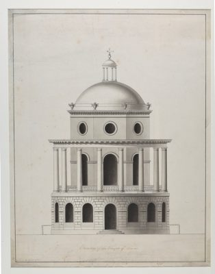 Architectural drawing of the elevation of the Temple of Venus