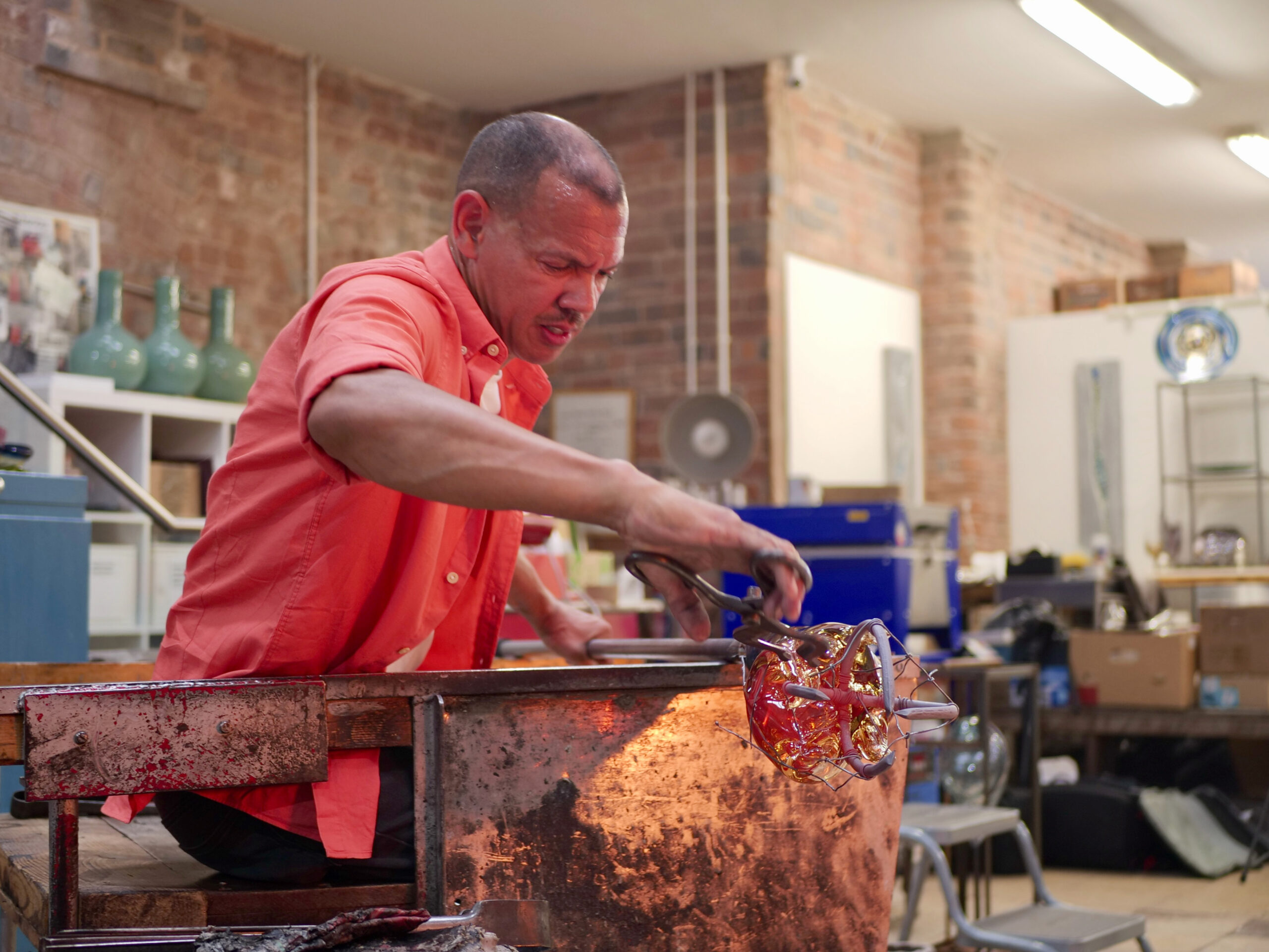 Artist Chris Day in his workshop