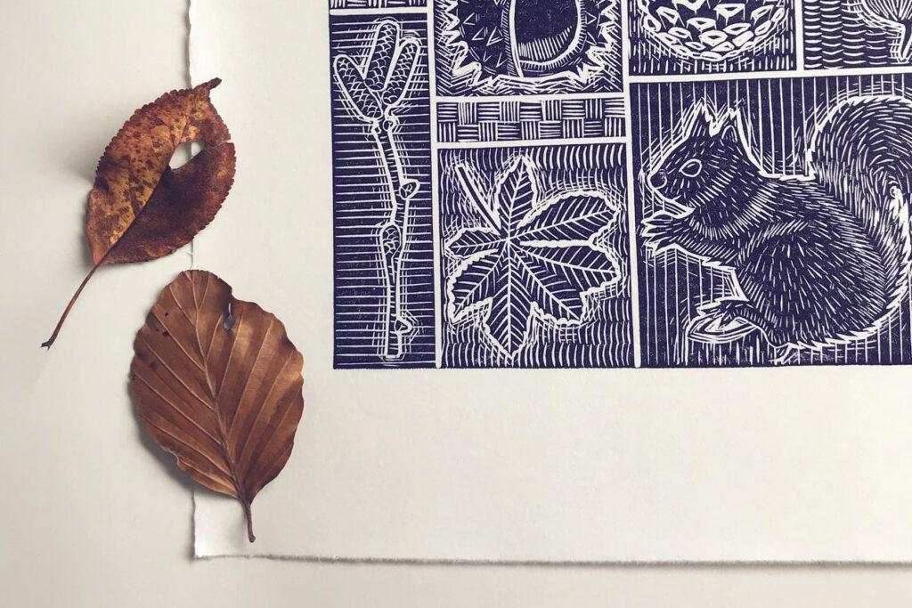 Folded Forest Autumn Lino Workshop 2