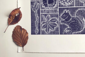 Autumn Inspired Lino Printing with Folded Forest